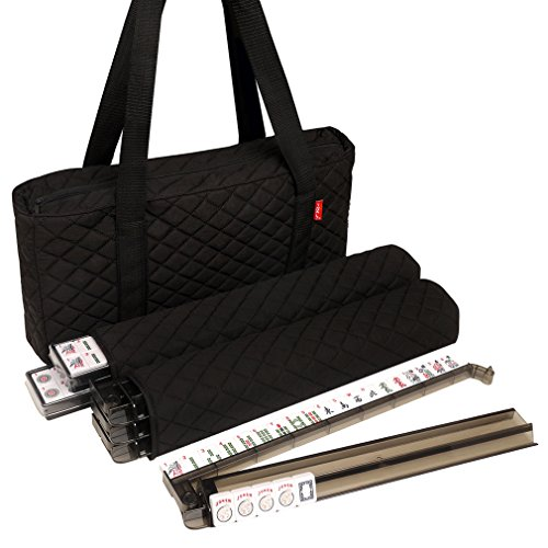 - American Mah Jongg Set by Linda Li - Black Quilted Soft Bag - 166 White Engraved Tiles, 4 All-In-One Rack/Pushers
