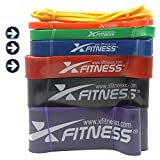xFitness Pull Up Assist Band by Top Rated Stretch Resistance Band, Mobility Band, Powerlifting Bands | 7 Levels to Choose | Perfect for Chin Ups, Muscle Ups, Ring Dips | Single Band or Set Combo