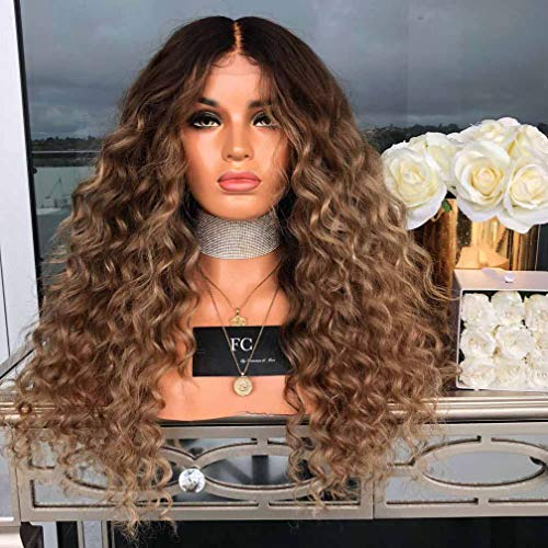 WQWIG Dark Gold Small roll Wig Middle Long Hair Wig Synthetic Heat-Resistant Wig with Wig Cap -