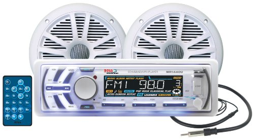 BOSS AUDIO MCK1440W.6 Marine Package Includes MR1440U Single-Din Marine AM/FM CD Receiver with Detachable Face, One Pair 6.5 inch MR6W Marine Speakers, MRANT10 Antenna