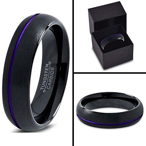 Tungsten Wedding Band Ring 4mm for Men Women Black Purple Off Set Domed Brushed Polished Lifetime Guarantee