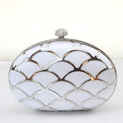 Hard Dilize Case Box Silver Party Clutch Women's Bag Chain Rhinestone Slim ww0TEnRxqr