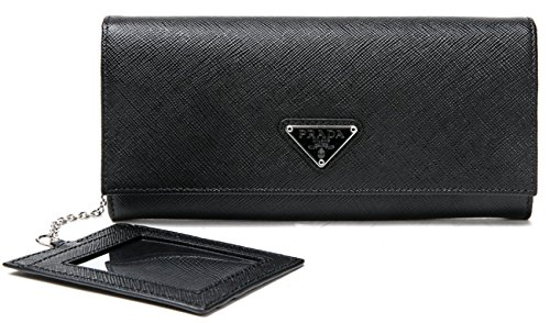 Wiberlux Prada Women's Silver Triangle Logo Detail Flap Real Leather Long Wallet One Size Black (Prada Long Wallet)