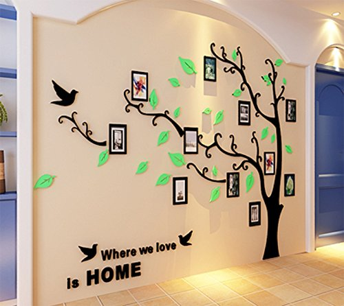 BERDECIA 3D Acrylic Green And Environmental Wall Sticker Large Family Tree Photo Frames Home Dcecor (Black+Light green, L (91x69 Inch) Right version)
