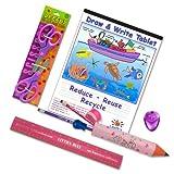 Left-handed School Supplies (Scissors, Pencils, Ruler and More) for Kids Under 8, 9 Pc Set; Pink/purple