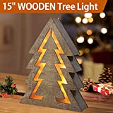 """country christmas decorations Bright Zeal 15"""" Lighted Wooden Christmas Tree Light - Indoor Table Top Wooden Christmas Tree Tabletop Centerpieces for Dining Room - Rustic Christmas Tabletop Tree Decor - Wooden Christmas Signs"""