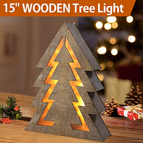 "Bright Zeal 15"" Lighted Wooden Christmas Tree Light - Indoor Table Top Wooden Christmas Tree Tabletop Centerpieces for Dining Room - Rustic Christmas Tabletop Tree Decor - Wooden Christmas Signs"