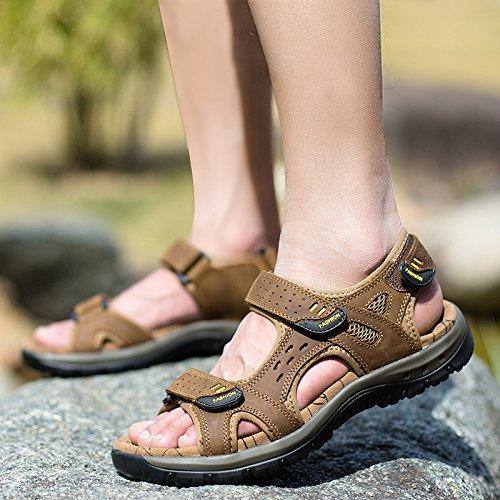 Lässige Männer Sandalen, Sommer Männer Leder, Sandstrand Schuhe,Brauner,Eu38