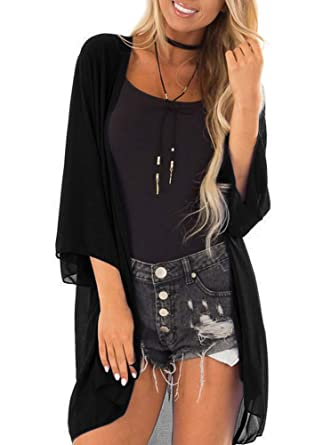 e499dc48d PINKMILLY Women 3/4 Sleeve Kimono Cover Up Sheer Chiffon Blouse Loose Long  Cardigan Black