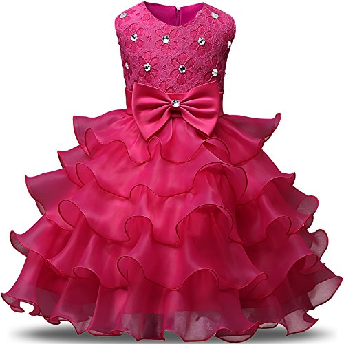 Princess Dresses (NNJXD Girl Dress Kids Ruffles Lace Party Wedding Dresses Size (90) 12-24 Months Rose)