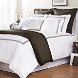 Roxbury Park Baratto Duvet Set Queen with Tripple Chocolate Embroidered Stripes