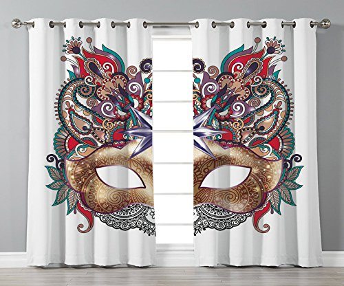 (Satin Grommet Window Curtains,Mardi Gras,Venetian Carnival Mask Silhouette with Ornamental Elements Masquerade Costume Decorative,Multicolor,2 Panel Set Window Drapes,for Living Room Bedroom Kitchen)
