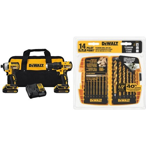 DEWALT DCK277C2 20V MAX Compact Brushless Drill and Impact Combo Kit with DW1354 14-Piece Titanium Drill Bit Set