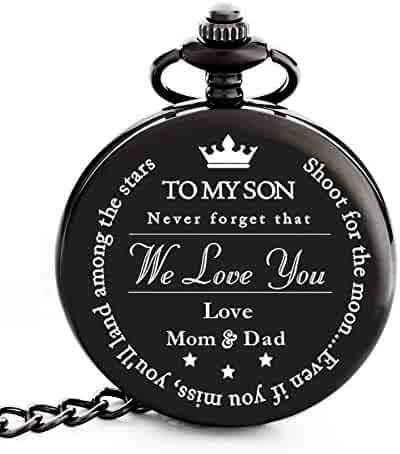 Pocket Watch – Engraved 'To My Son Love Mom and Dad' - Perfect Gift from Mom and Dad to Son for College Graduation 2018 / Birthday – Graduation Present for him by Frederick James