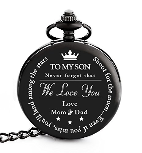 Pocket Watch – Engraved 'To My Son Love Mom and Dad' - Perfect Gift from Mom and Dad to Son for College Graduation 2018 / Birthday – Graduation Present for him by Frederick James by FREDERICK JAMES