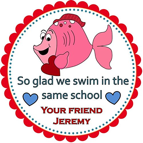 Valentines Fish Party Labels, Favors Stickers, Valentine's Party Hang Tags, Cupcake Toppers, Party Favors Fish Round Sticker