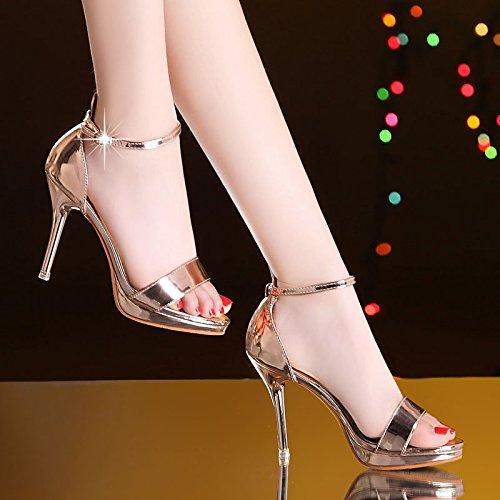 Chaussures SHOESHAOGE Fine Imperméable Femmes Talon Fines Bouche Avec L'Été Couleur Taiwan unie Poisson Show De Sandales Haut Buckle A6qq5wFp