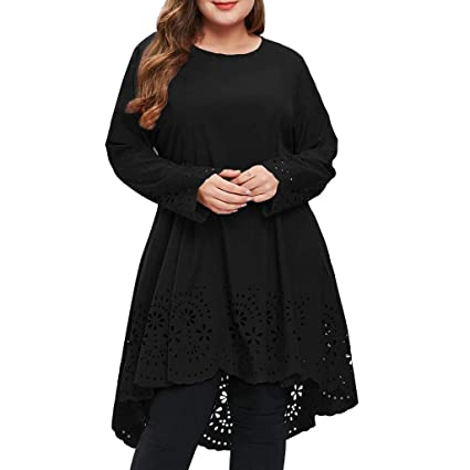 3e13218eb93 Amazon.com  KFSO Women O-Neck Long Sleeve Plus Size Laser Cut High Low  Hollow Out T Shirt Dress (Black
