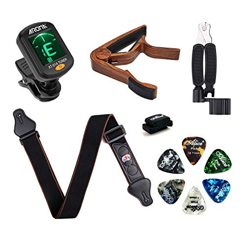 Meeland-Guitar-Accessories-Kit-Clip-On-Guitar-Tuner-Guitar-CapoRosewood-Colour-Guitar-String-Winder-Cutter-Pin-Puller-3-in-1-tool-Guitar-Strap-6-Guitar-Picks6-Thickness