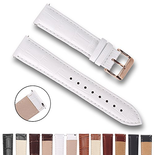 Top Grain Leather Watch Band, Quick Release Watch Bands, Replacement Watch Bands for Men and Women, Easy Swap, Change in Seconds [14mm White]