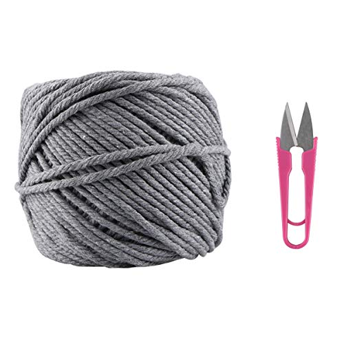 Macrame Cord, Kisslife Handmade Decorations Natural Cotton 4mm Soft Unstained Rope for Handmade Plant Hanger Wall Hanging Craft Making 109 Yards Cotton Gray Macrame Cord -