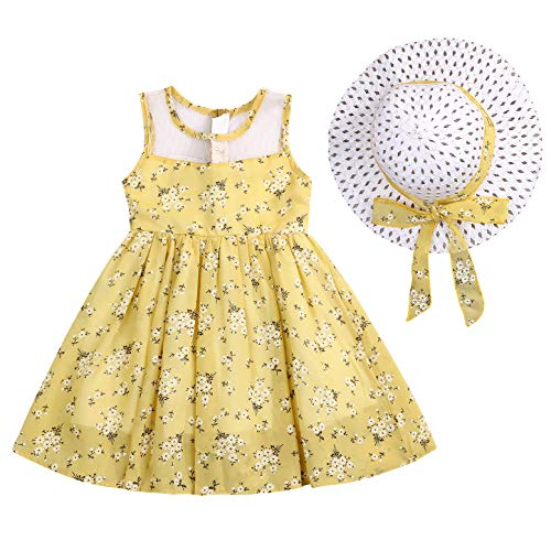 Kids Toddler Baby Girls Summer Dress Outfits Ruffle Floral Print Tutu Skirt Sunsuit Beachwear Dresses Clothes Set (Yellow, 3-4 Years)