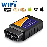 Car WIFI OBD 2 OBD2 OBDII Code Reader Scan Tool Scanner Adapter Check Engine Light Diagnostic Tool for iOS & Android (Wifi elm327)