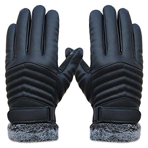Gants Homme, Koly Anti Slip Hommes Gants En Cuir De L'éCran Tactile De Sports D'Hiver Thermiques