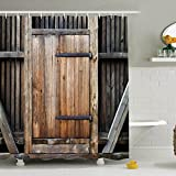 "YJ Bear Vinatge Wooden Gate Anti-bacterial Bath Decor Waterproof Polyester Mildew Resistant Shower Curtain Home Decoration Bathroon Curtain 71"" X 71"""