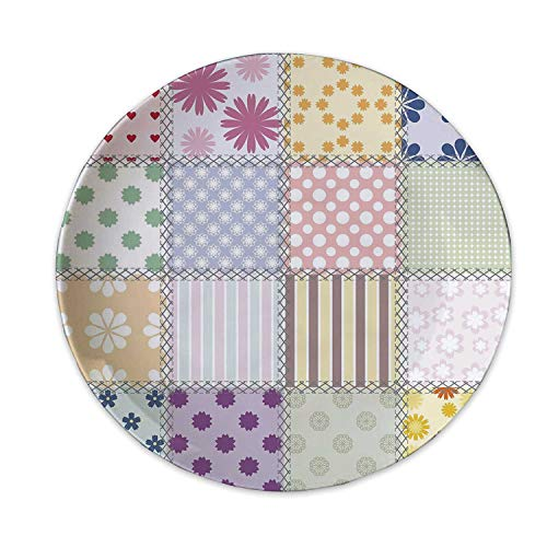 Cabin Decor Ceramic Decorative Plate,Patchwork Style Different Patterns Squares Spring Flora Hobby Craft Theme Print Decorative for Home Decorative,8 inch