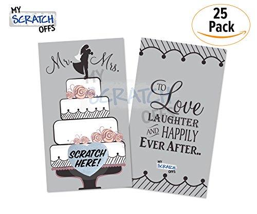 Distribute Business Cards - Scratch off Game Cards Wedding 4 Tier Cake Mr & Mrs Vintage Bridal Shower & Wedding Shower Reception Set 25 (24 Sorry 1 Winner) Kit for Guests My Scratch Offs