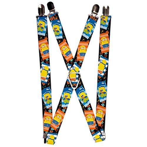 Buckle-Down Suspenders - Sunbathing Minions Black/blue/orange Accessory, -Multi-Colored, One - Suspenders Minion