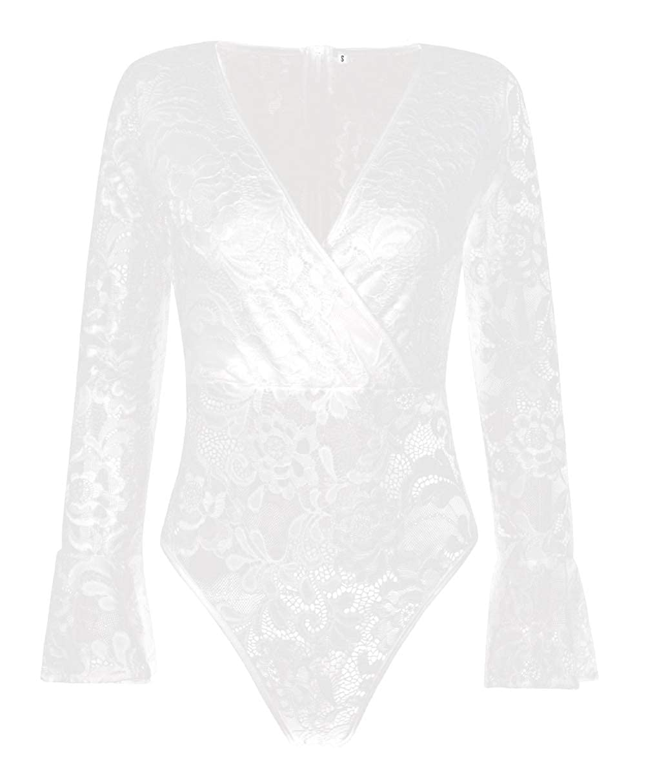 MASHIKOU Body Donna Elegante Pizzo V Collo Manica Lunga Bodysuit Blusa Camicie Leotard Top Tuta Lingerie Intimo