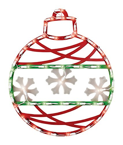 """17"""" Red Green and White Lighted Christmas Ornament Window Silhouette Decoration -"""