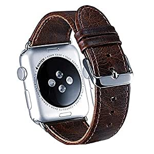 Apple Watch Band, Apple watch Band Premium Vintage Genuine Leather Replacement Watchband with Secure Metal Clasp Buckle Retro iWatch Band for Apple Watch Sport Edition Series 3 2 1 (Coffee 42mm)