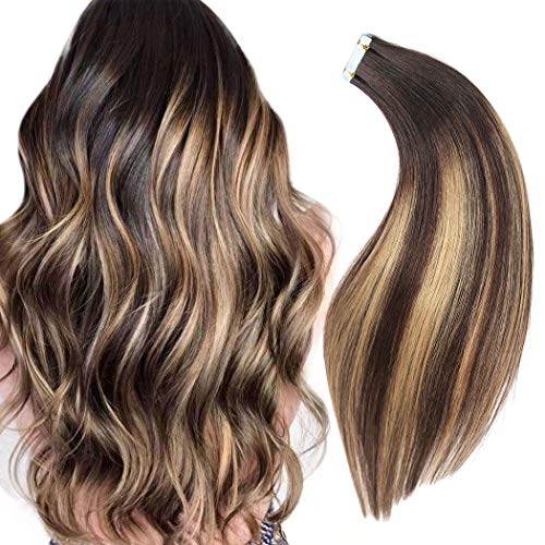 Rinboool Ombre Balayage Tape In Hair Extensions,18'' 50g,Real Natural Remy Human Hair,Long Seamless Straight,Dark Brown Rooted Fading To Caramel Blonde Highlighted Brown,20pcs/pack (Hair 100 European Real Extensions)