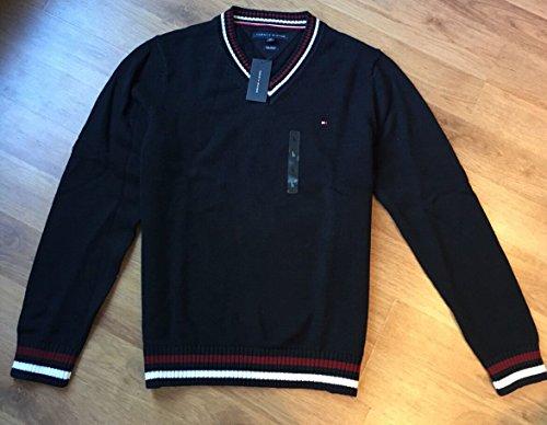 Tommy Hilfiger Herren V-Neck Pullover, Men's Sweater, Cotton, Size: Large