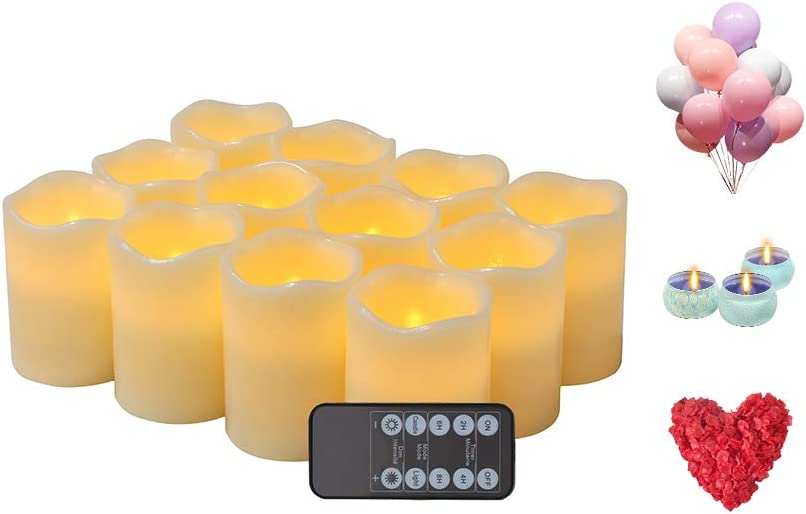 Flameless LED Votive Candle Lights Flickering Ivory Color with 10-Key Remote 24 Hours Timer H 4 5 6 7 8 9 xD 3 Ivory, Set of 12 50 Balloons 2200 Petals 3 Can Candles
