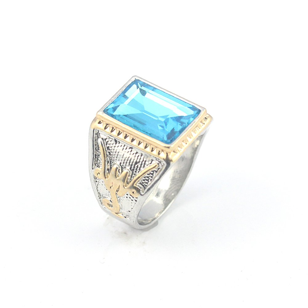 BEST QUALITY BLUE TOPAZ FASHION JEWELRY SILVER PLATED AND BRASS RING 11 S23120