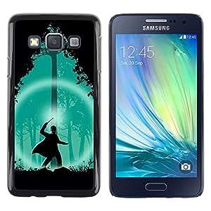 Shell-Star Arte & diseño plástico duro Fundas Cover Cubre Hard Case Cover para Samsung Galaxy A3 / SM-A300 ( Green Wizard Forest Night Silhouette )