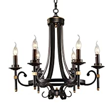 LNC Traditional Chandeliers, Vintage 6-light Candle Pendant Lighting with Black Finish