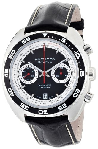 Hamilton Men's 'American Classic' Swiss Automatic Stainless Steel and Leather Dress Watch, Color:Black (Model: H35756735)