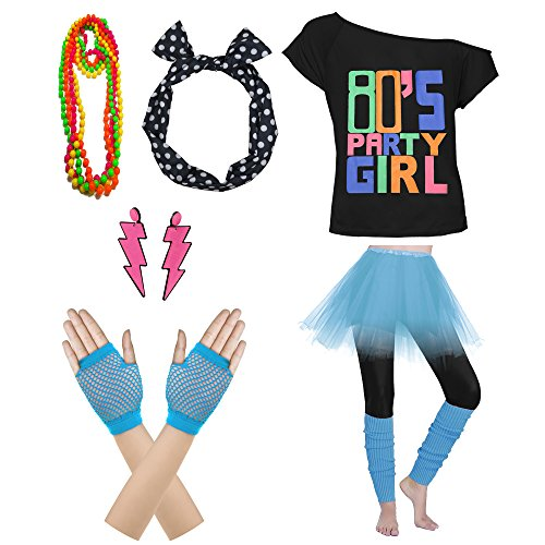 80's Party Womens Retro Costume Accessories Outfit Dress for 1980s Theme Party Supplies (L/XL, Sky -