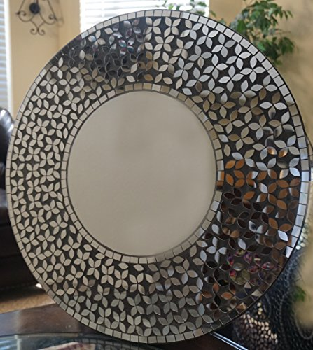 Lulu Decor, Crystal Flower Mosaic Wall Mirror with Mosaic Mirror Pieces in Black Cement, Decorative Handmade Round Mirror, Diameter 23.5, Mirror 11.5…