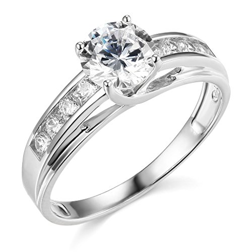 14K White Gold Solitaire 1.5 CT Equivalent Round CZ Cubic Zirconia High Polish Finish Ladies Wedding Engagement Ring Band with Round Side Stone (Size 4 to 12) – Size 4