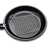 Cast Iron Cleaner, Yummy Sam Stainless Steel Chain mail Scrubber 7x7 Inch Wire Metal Pot Cleaner for Skillet,Pan,Griddle, Wok and Cookware (Square)