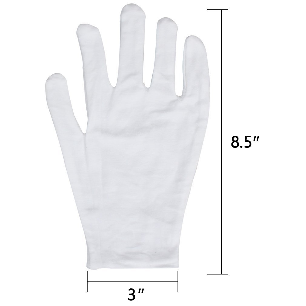 Sonnis 12 Pairs White Cotton Gloves for Cosmetic Moisturizing Coin Jewelry and Hand Spa Large Size by Sonnis (Image #1)