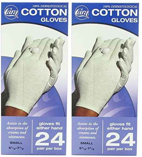 CARA Hypoallergenic Moisturizing Cotton Gloves, 24 Pair, TjQYkZ 2 Pack(Small) by Cara