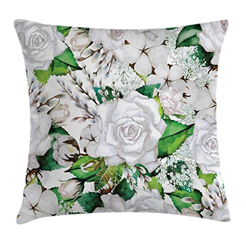 Rose Throw Pillow Cushion Cover by Lunarable, Watercolor Artsy Design of Roses Meaning New Beginning or Farewell Innocence Symbol, Decorative Square Accent Pillow Case, 40 X 40 Inches, White Green