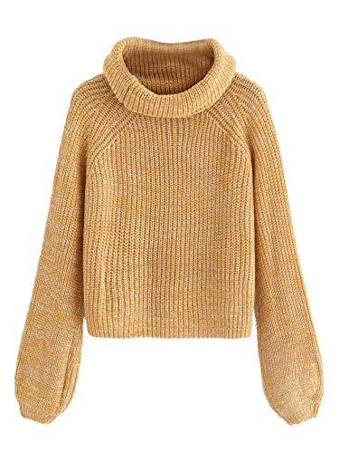 (Milumia Women Turtleneck Long Sleeves Fall Winter Sweaters Crop Tops Basic Jumpers Yellow S)